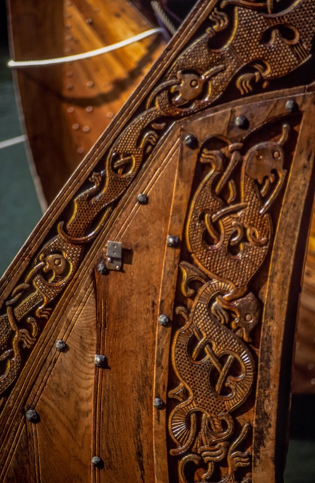 Free image of Close up of Wood carving on Wooden Ship