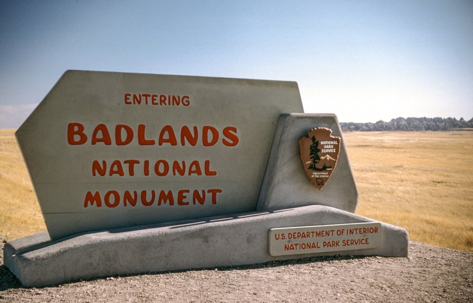 Free image of Entering Badlands National Park Monument Board at Roadside, South Dakota, USA