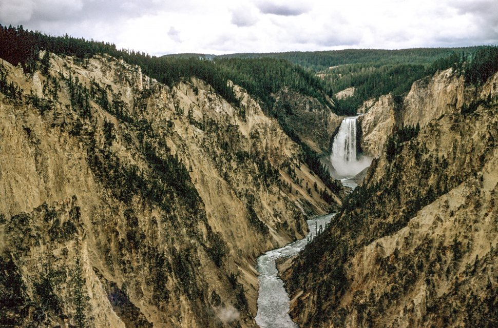 Free image of View of Upper Yellowstone Falls in Yellowstone National Park,