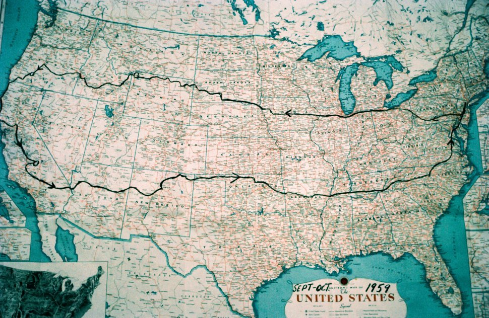 Free image of Close-up of United States map showing driving route.