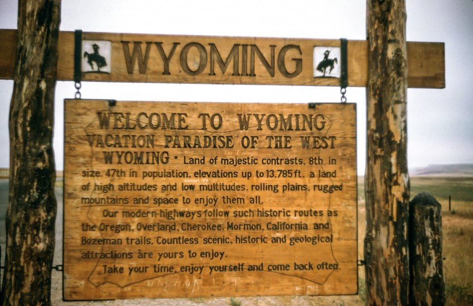 Free image of Close-up of Welcome to Wyoming Board
