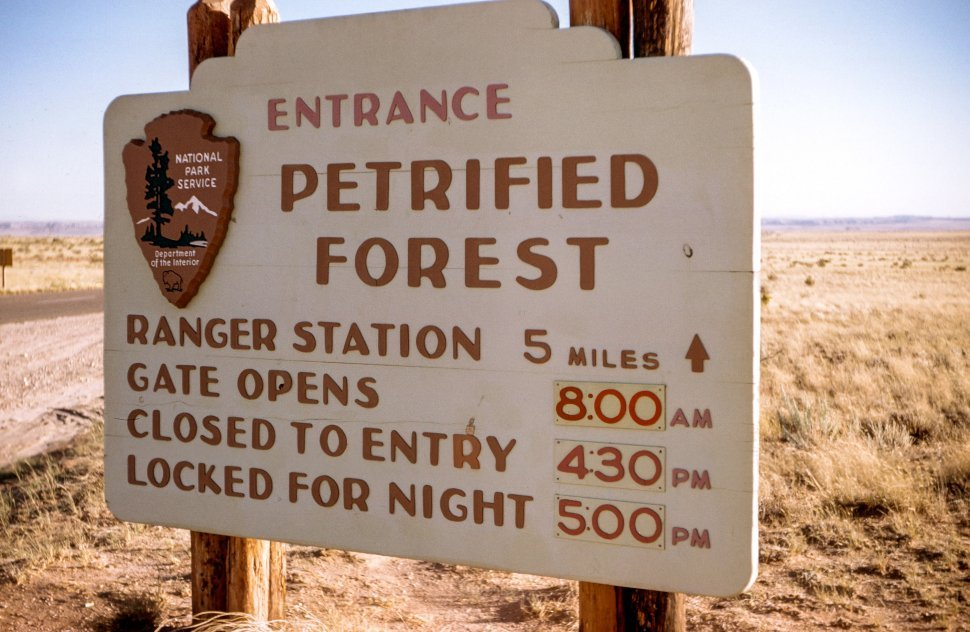 Free image of Entrance To Petrified Forest Sign Board