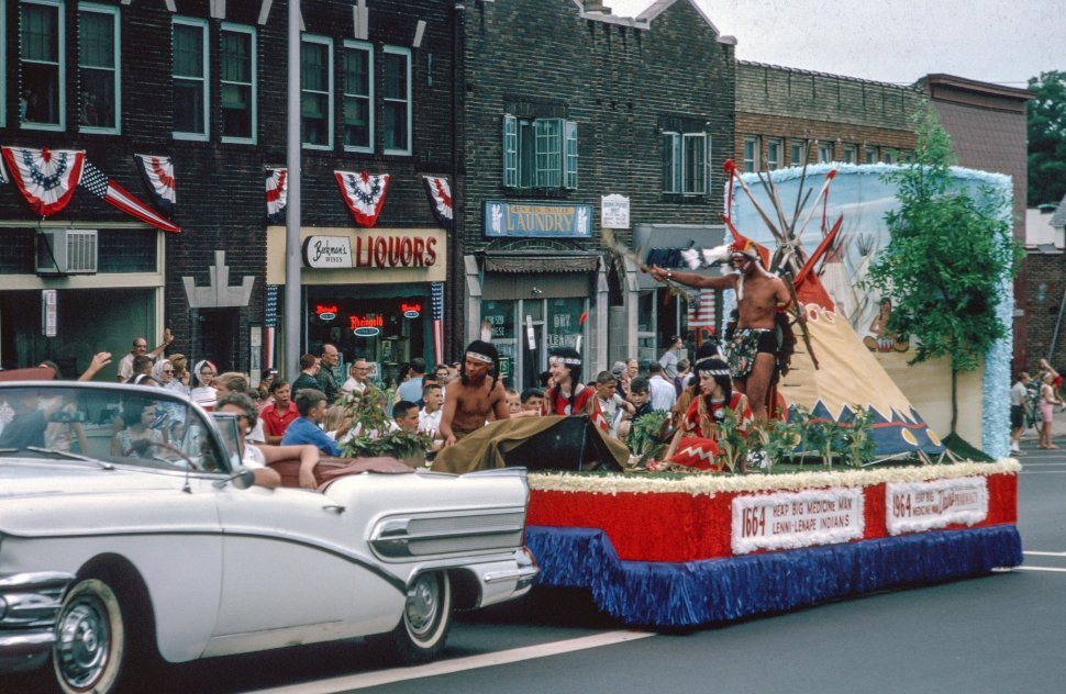 Free image of Native Indian Group Performs on towed float During Parade