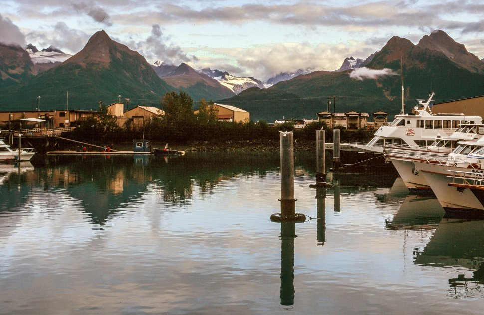 Free image of Small Boat Harbor and mountains in the background, Valdez, Alaska