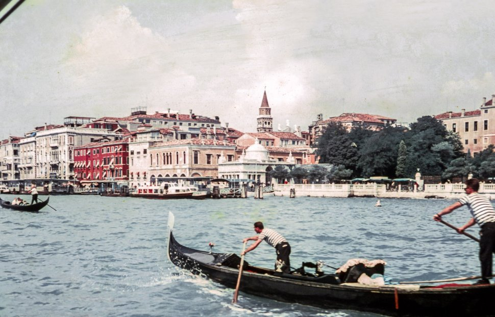 Free image of Gondoliers with Gondola on the Grand Canal in Venice