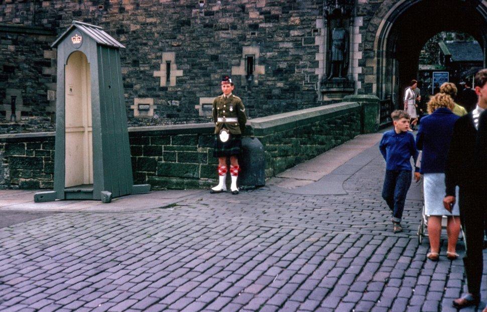 Free image of Guard near guard house at Edinburgh Castle, Scotland