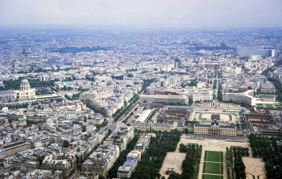Free image of Aerial view of a Paris as seen from the Eiffel Tower