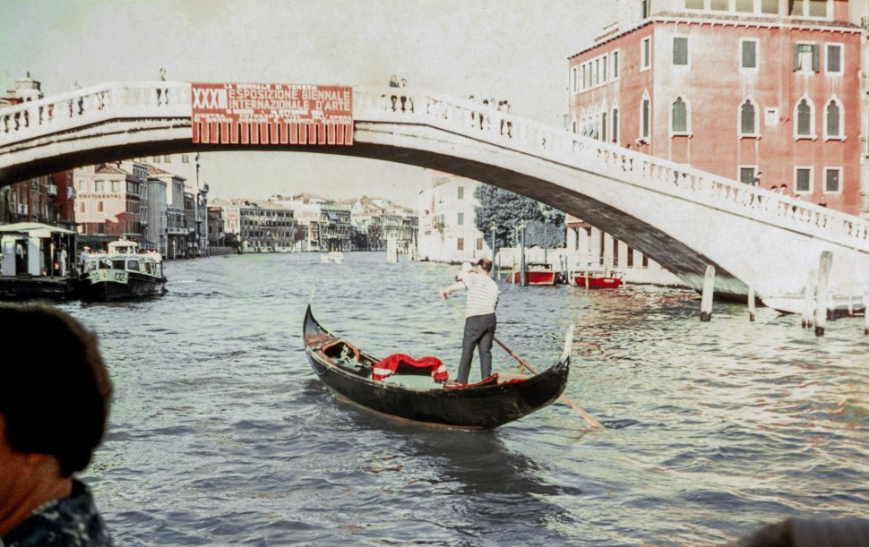 Free image of Gondolier rowing a gondola in Venice, Italy