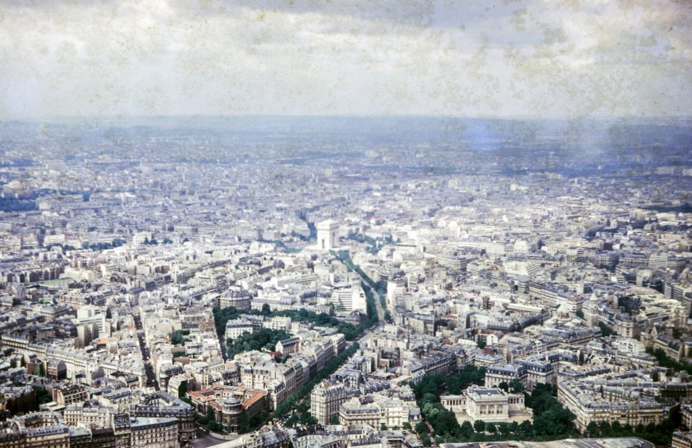 Free image of An Aerial View of Paris, France looking toward the Arc de Triomphe, from the Eiffel Tower