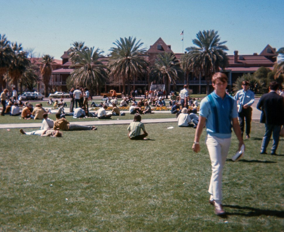 Free image of Students on grassy mall at the University of Arizona