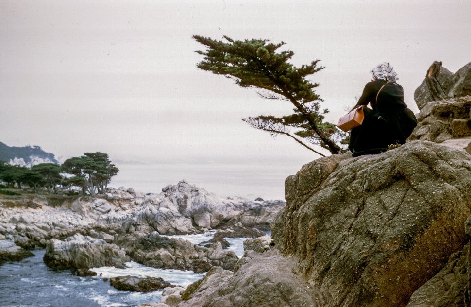 Free image of Woman sitting in rocks, looking out at the ocean