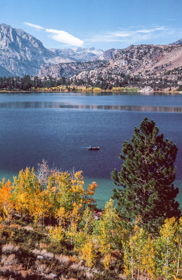 Free image of View of June Lake with mountains in the background California