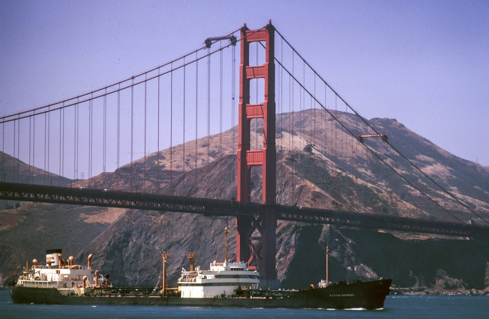 Free image of Container ship sailing through San Francisco Bay crossing under the Golden Gate Bridge, San Francisco, California USA
