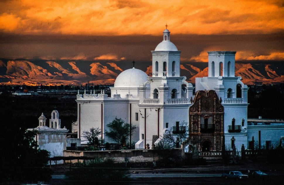 Free image of Sunset clouds over Mission San Xavier del Bac also known as white dove of the desert, south of Tucson, Arizona, USA