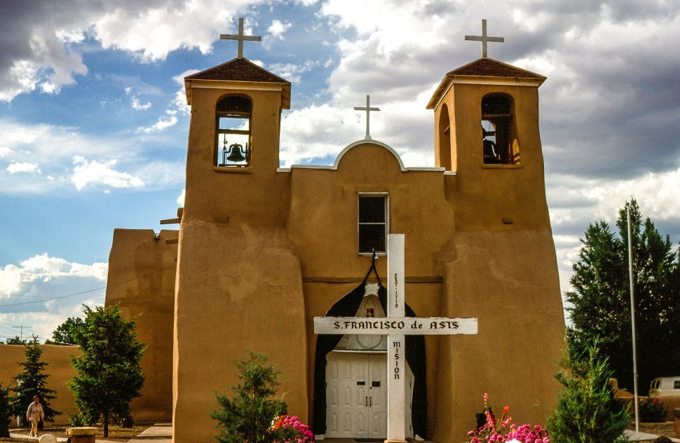 Free image of Exterior View of San Francisco de Asis Mission Church in Taos, New Mexico, or Ranchos de Taos.