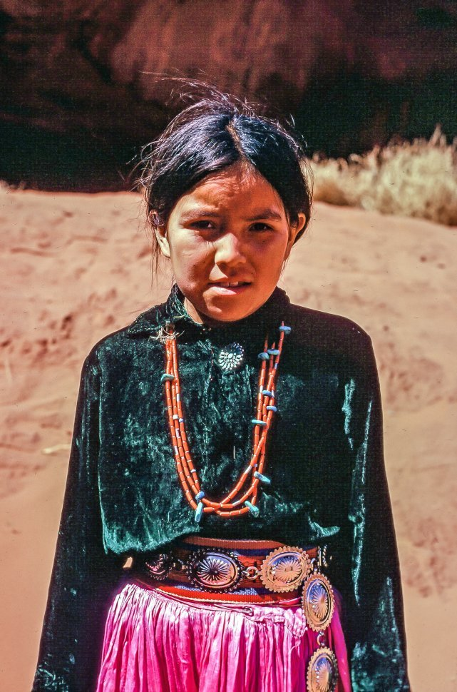 Free image of Native American Girl posing for a photograph, Navajo Nation, Arizona
