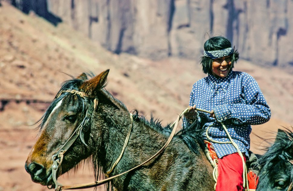 Free image of A Native American Indian boy riding horse, Navajo Nation, Arizona