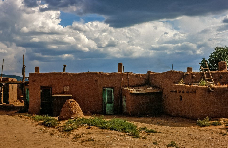 Free image of View of Adobe houses in Taos Pueblo, New Mexico USA