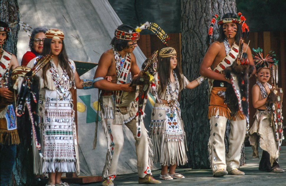 Free image of Group of Native American people performing during a cultural programme