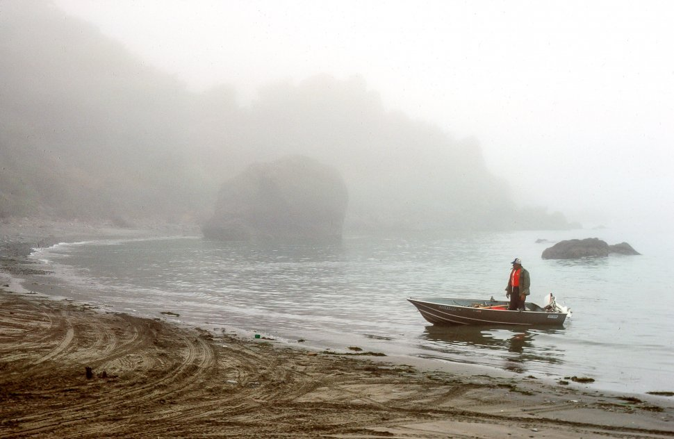 Free image of Boatman standing in his boat during misty morning