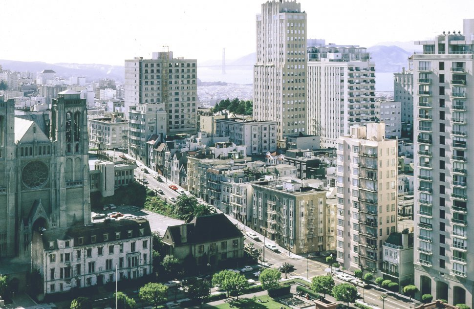 Free image of View Of San Francisco City Skyline with Golden Gate bridge in the distance