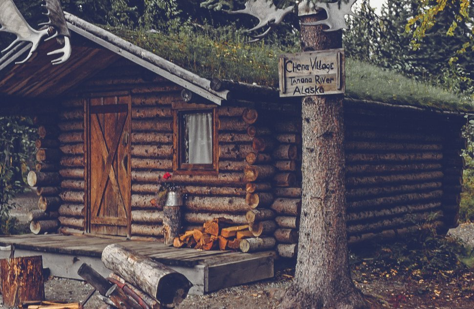 Free image of Cabin at entrance of Chena Village, Chena, Alaska