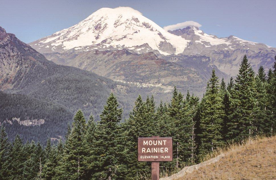 Free image of View of Mount Rainier also known as Mount Tacoma, or Mount Tahoma in Washington