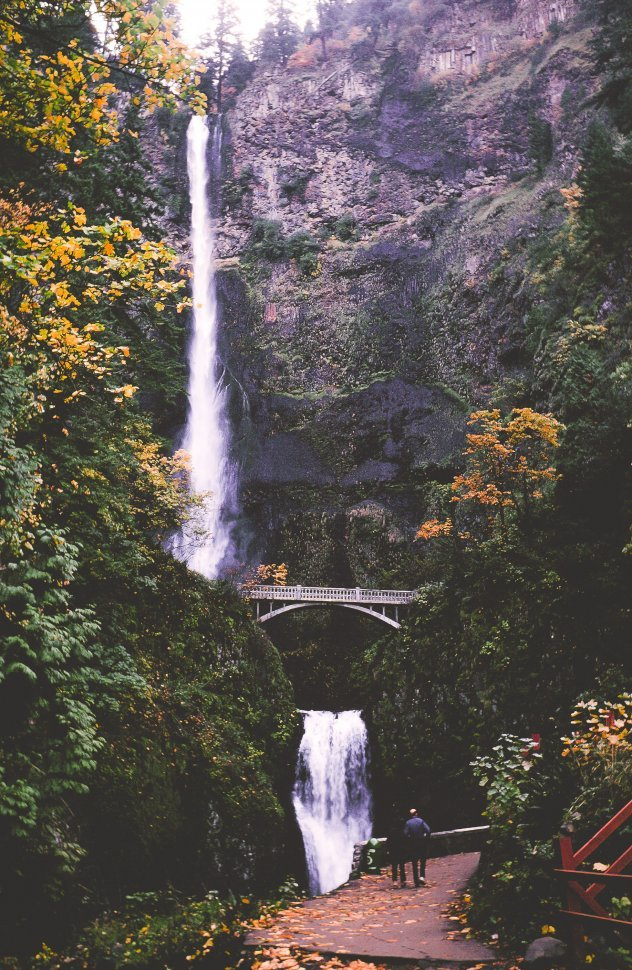 Free image of Footbridge and double cascade at Multnomah Falls, Columbia River Gorge, USA