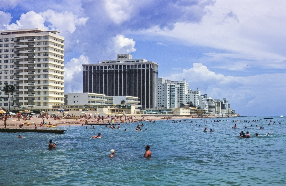 Free image of People bathing in the sea, Miami Beach, Florida