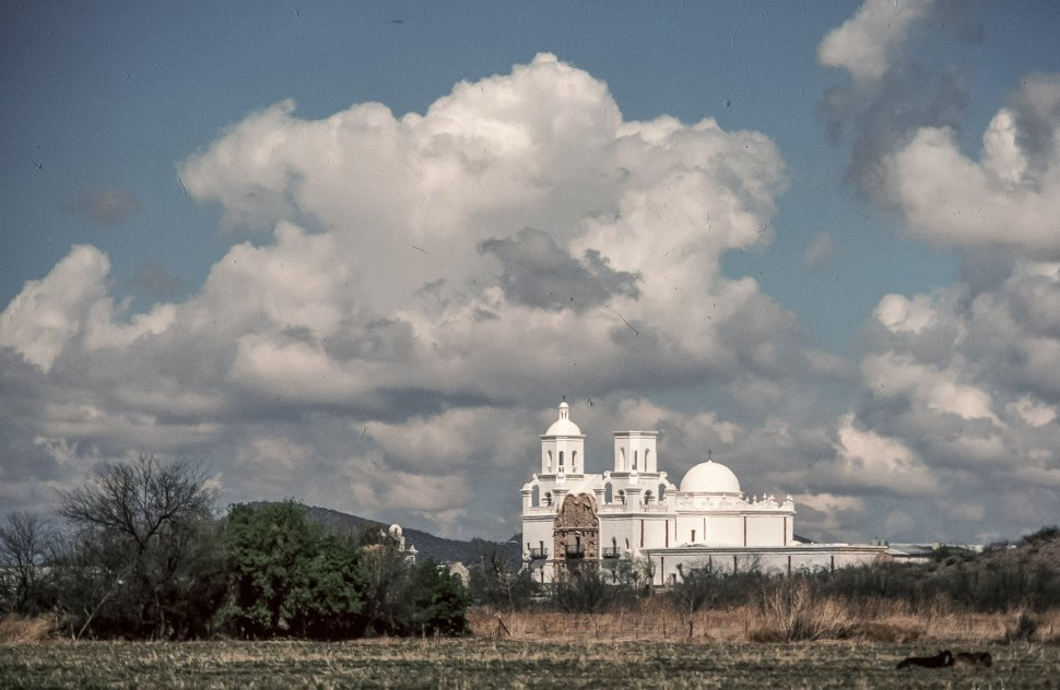 Free image of Long View of Mission San Xavier del Bac also known as white dove of the desert in Arizona