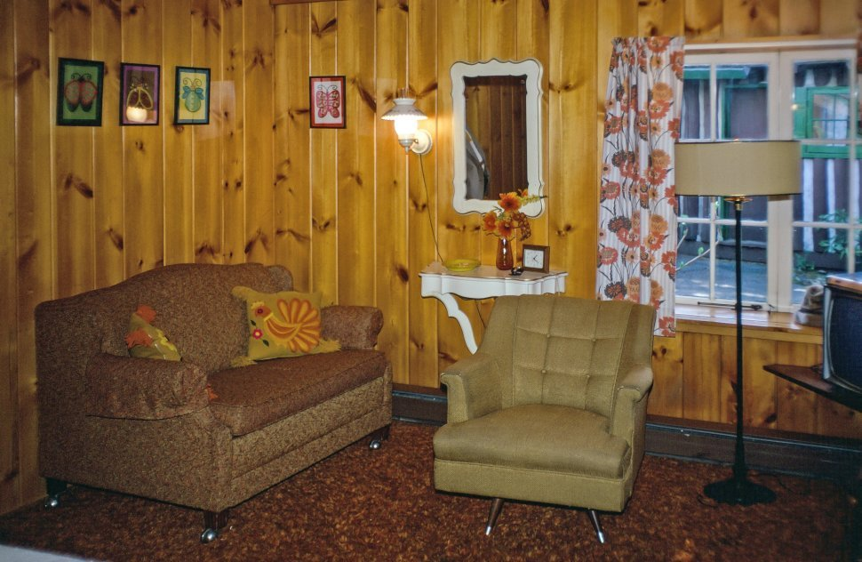 Free image of Interior of mid century living-room with sofas