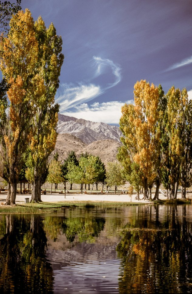 Free image of Reflection of trees on lake with mountains in the background