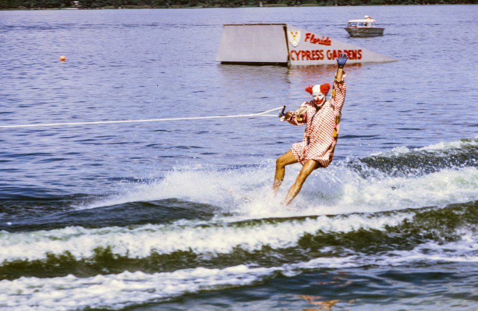 Free image of Vintage clown doing water ski at Cypress Gardens, Florida, USA