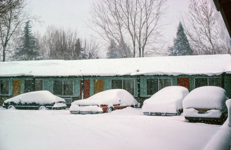 Free image of Four cars covered with snow parked outside a motel