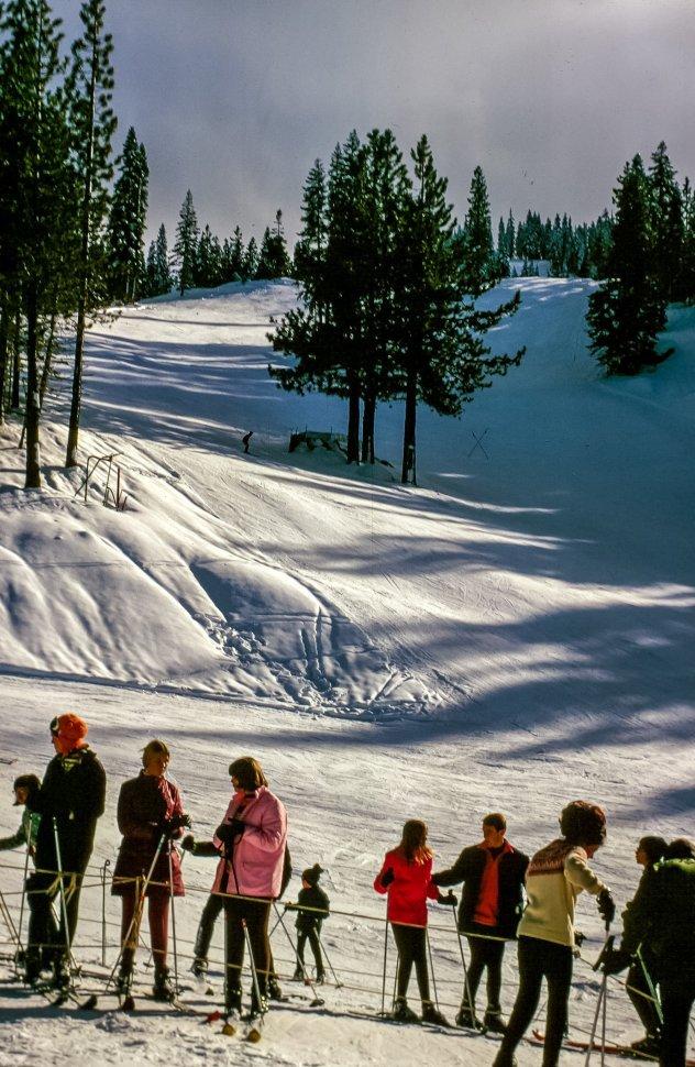 Free image of People in queue to start skiing at ski resort