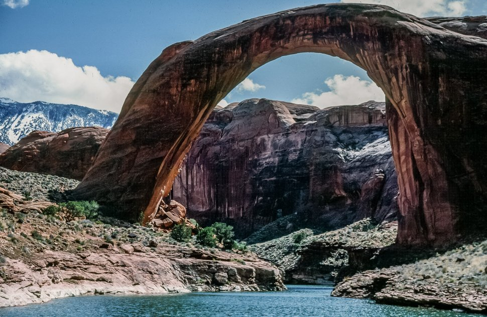 Free image of View of Rainbow Bridge from Lake Powell in Arizona