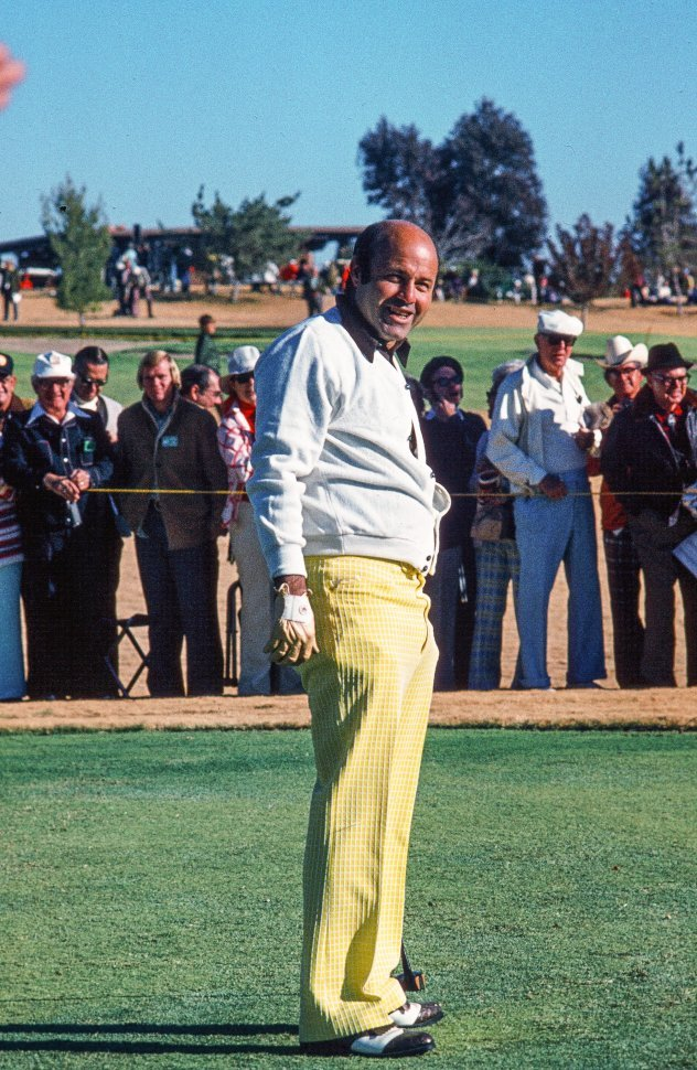 Free image of Sportscaster Joe Garagiola seen playing golf at celebrity tournament in Tucson, Arizona