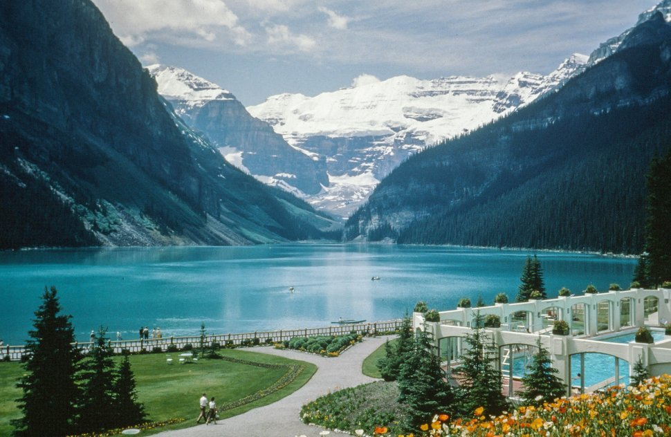 Free image of View of Lake Louise from Chateau Lake Louise, Banff National Park, Alberta, Canada